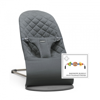 Lehátko Babybjorn Bouncer Bliss  Anthracite cotton + hračka  očička Googly Eyes
