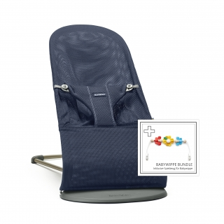 Lehátko Babybjorn Bouncer Bliss Navy blue 3D mesh + hračka kytičky Flying friends