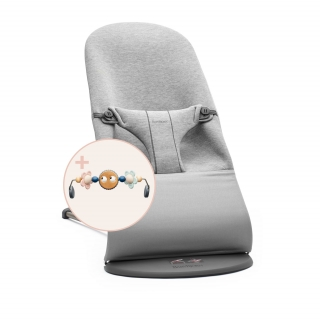 Lehátko BABYBJÖRN Bouncer Bliss Light grey, 3D Jersey s hračkou Googly Eyes Pastels